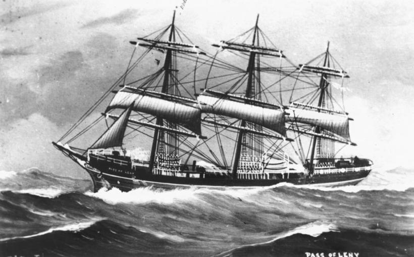 statelibqld_1_141727_drawing_of_the_ship_pass_of_leny_as_a_three_masted_square_rigged_sailing_ship